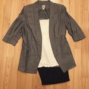 Lauren Conrad Grey Silver Ruched Sleeve Blazer